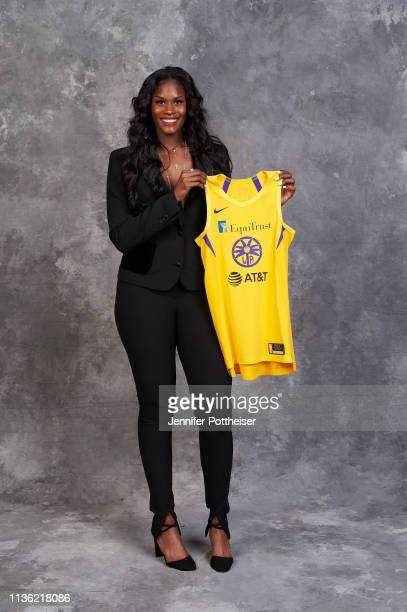 Kalani Brown poses for a portrait after being selected number seven overall by the Los Angeles Sparks during the WNBA Draft on April 10 2019 in New...