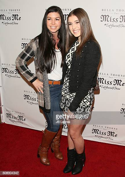Kalani Hilliker and her mother attend the Miss Me and Cosmopolitan's spring campaign launch event on February 3 2016 in West Hollywood California