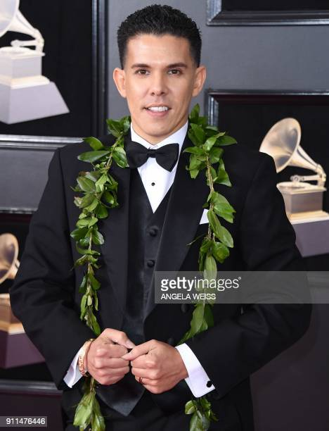 Kalani Pe'a arrives for the 60th Grammy Awards on January 28 in New York / AFP PHOTO / ANGELA WEISS