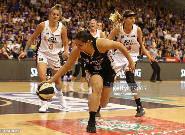 Kalani Purcell of the Melbourne Boomers gets the ball during game two of the WNBL Grand Final series between the Melbourne Boomers and the Townsville...
