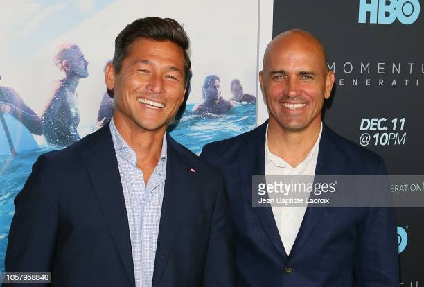 Kalani Robb and Kelly Slater attends HBO's 'Momentum Generation' premiere held at The Broad Stage on November 05 2018 in Santa Monica California