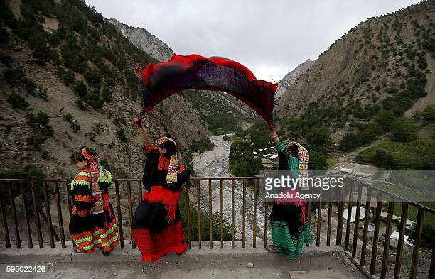 Kalash girls are seen with traditional clothes at Bumburet largest valley of Kalasha Desh in Chitral District of Khyber Pakhtunkhwa Pakistan on...