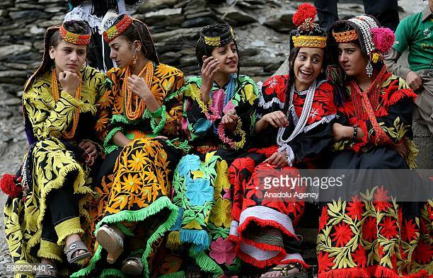 Kalash girls are seen with traditional clothes at Bumburet, largest valley of Kalasha Desh in Chitral District of Khyber Pakhtunkhwa, Pakistan on...