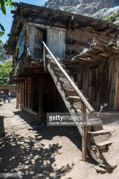 Kalash house identifiable with its staircase and flat roof on Mai 18, 2016 in Bumburet, Khyber Pakhtunkhwa, Pakistan.