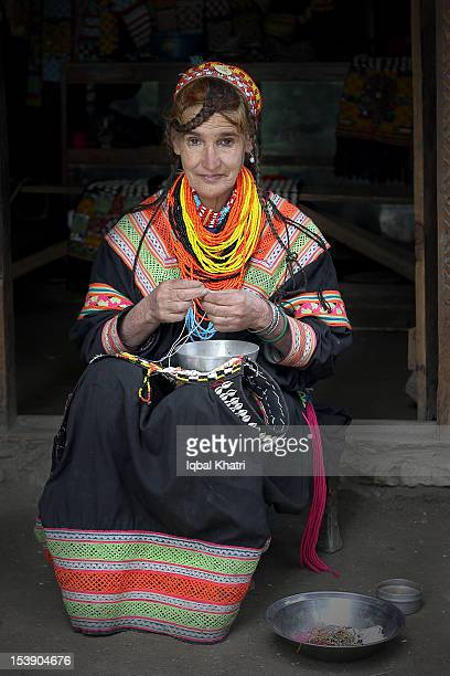 kalash lady - kalash people stock photos and pictures