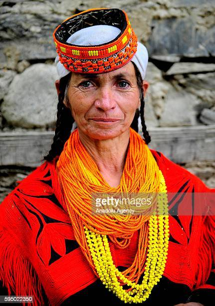 Kalash woman poses for a photo with traditional clothes at Bumburet largest valley of Kalasha Desh in Chitral District of Khyber Pakhtunkhwa Pakistan...