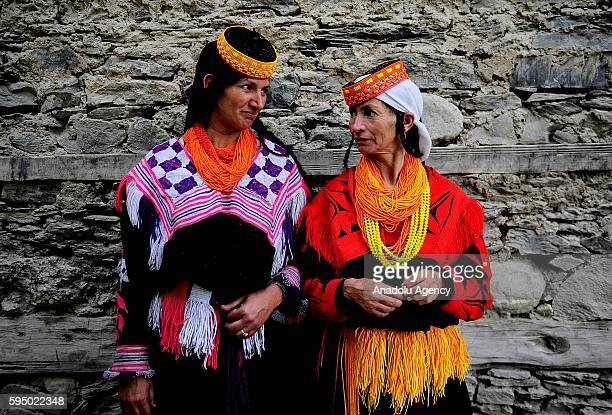 Kalash women are seen with traditional clothes at Bumburet, largest valley of Kalasha Desh in Chitral District of Khyber Pakhtunkhwa, Pakistan on...