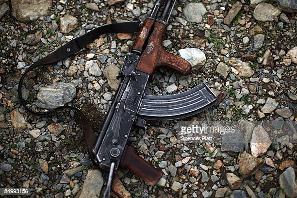Kalashnikov automatic rife sits on the ground during a U.S. Army joint military exercise with the Afghan National Army February 23, 2009 in Mangow in...