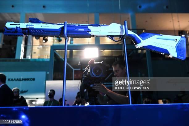 Kalashnikov's MP-155 hunting shotgun are pictured in the Kalashnikov expo centre prior the International Military-Technical Forum Army-2020 in the...