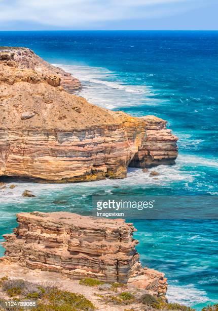 kalbarri sandstone cliffs, western australia, australia - western australia fotografías e imágenes de stock