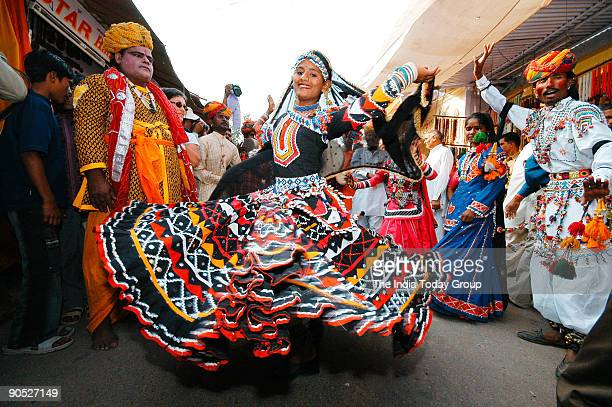 Kalbelia dance being performed by folk dancers from Rajasthan in Bikaner India