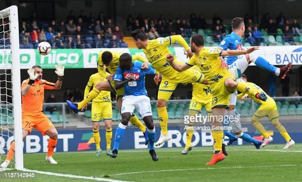 Kaldou Koulibaly of SSC Napoli scores the opening goal during the Serie A match between Chievo Verona and SSC Napoli at Stadio Marc'Antonio Bentegodi...