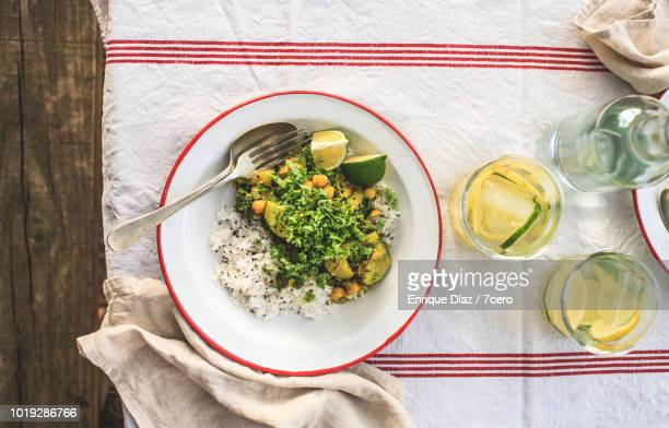 Kale and Zucchini Curry in the Forest, Vertical