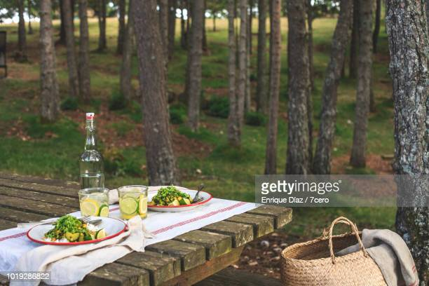 Kale and Zucchini Curry in the Forest, with basket