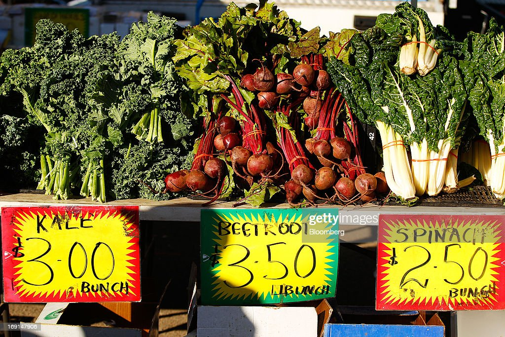 Kale, beetroot and spinach are displayed for sale at a stall at the Frenchs Forest Organic Food Market in Sydney, Australia, on Sunday, May 19, 2013. The Reserve Bank of Australia cut its benchmark interest rate to a record low this month to boost businesses weakened by the currency's sustained strength, even as households reacted to earlier reductions. Photographer: Brendon Thorne/Bloomberg via Getty Images