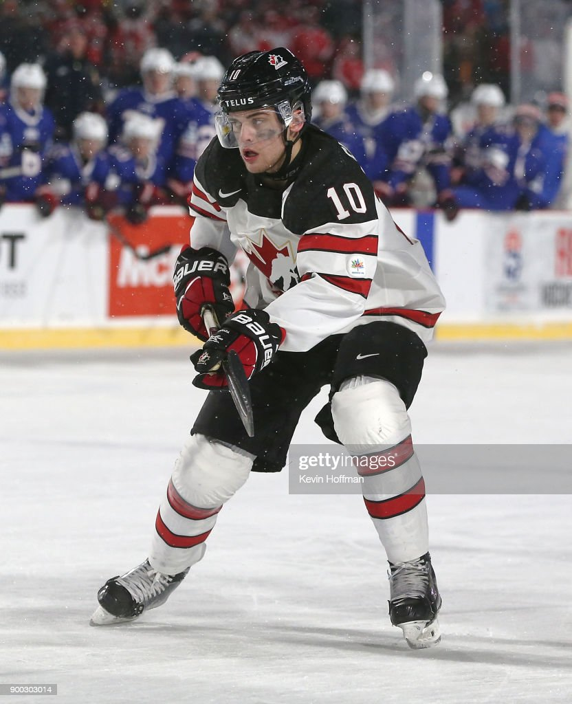 Kale Clague #10 of Canada during the IIHF World Junior Championship at New Era Field against the United States on December 29, 2017 in Buffalo, New York. The United States beat Canada 4-3.