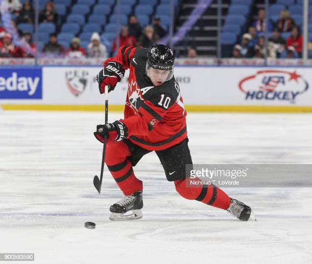 Kale Clague of Canada shoots the puck against team Switzerland during the first period of play in the Quarterfinal IIHF World Junior Championship...