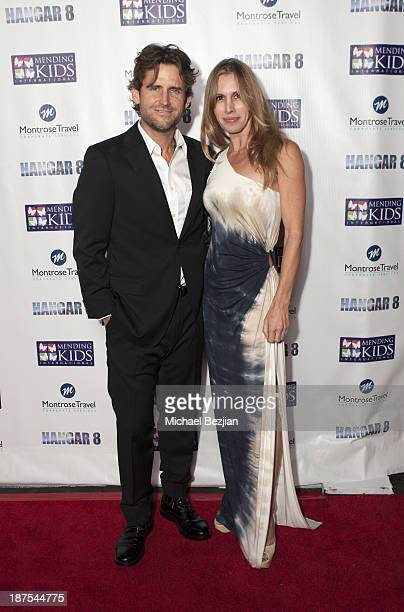 Kale Flowers and Mia Radcliffe attend Mending Kids International's Wings Around The World African Safari Gala Red Carpet at Santa Monica Airport on...