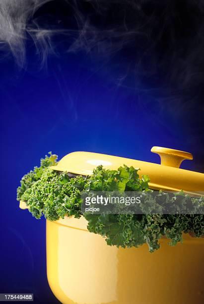 kale in stew pot - stamppot stockfoto's en -beelden