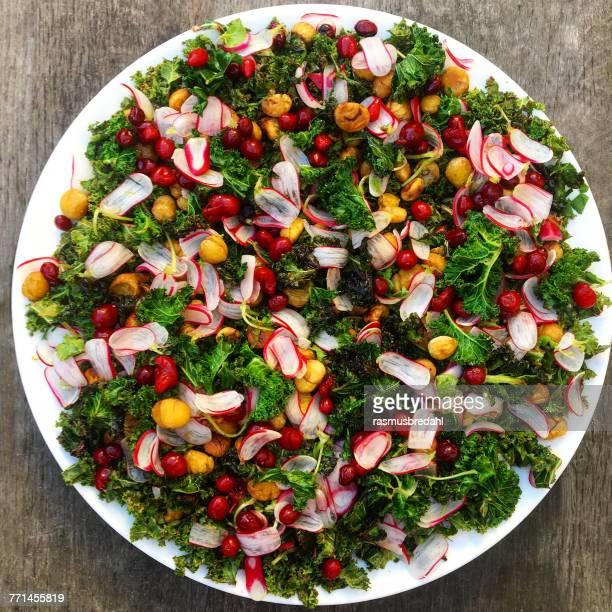 Kale salad with radish and pomegranate