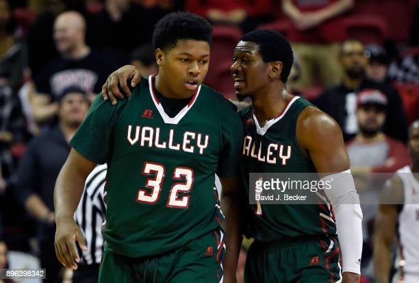 Kaleb Allison and Dante Scott of the Mississippi Valley State Delta Devils talk during the first period against the UNLV Rebels at the Thomas Mack...