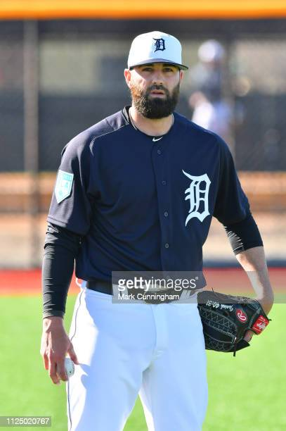 Kaleb Cowart of the Detroit Tigers looks on during Spring Training workouts at the TigerTown Complex on February 14 2019 in Lakeland Florida