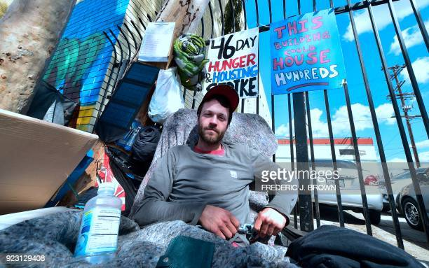 Kaleb Havens a Catholic worker continues his Lent hunger strike on February 22 in the skid row section of Los Angeles Havens who also chained himself...