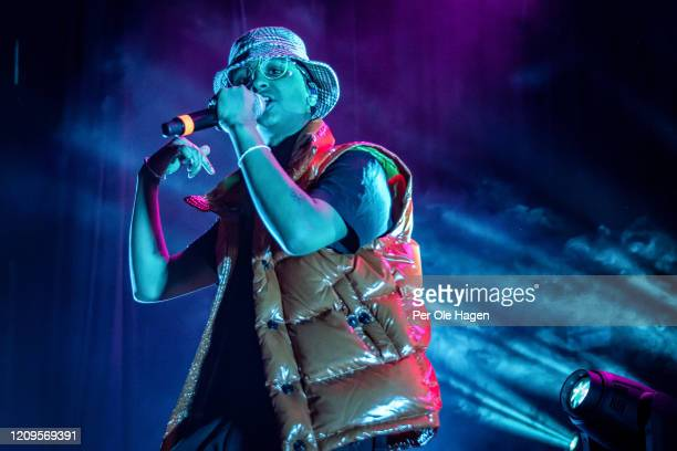 Kaleb Isaac Ghebreiesus aka Isah performs on stage at Sentrum Scene during the Bylarm Festival on February 29 2020 in Oslo Norway