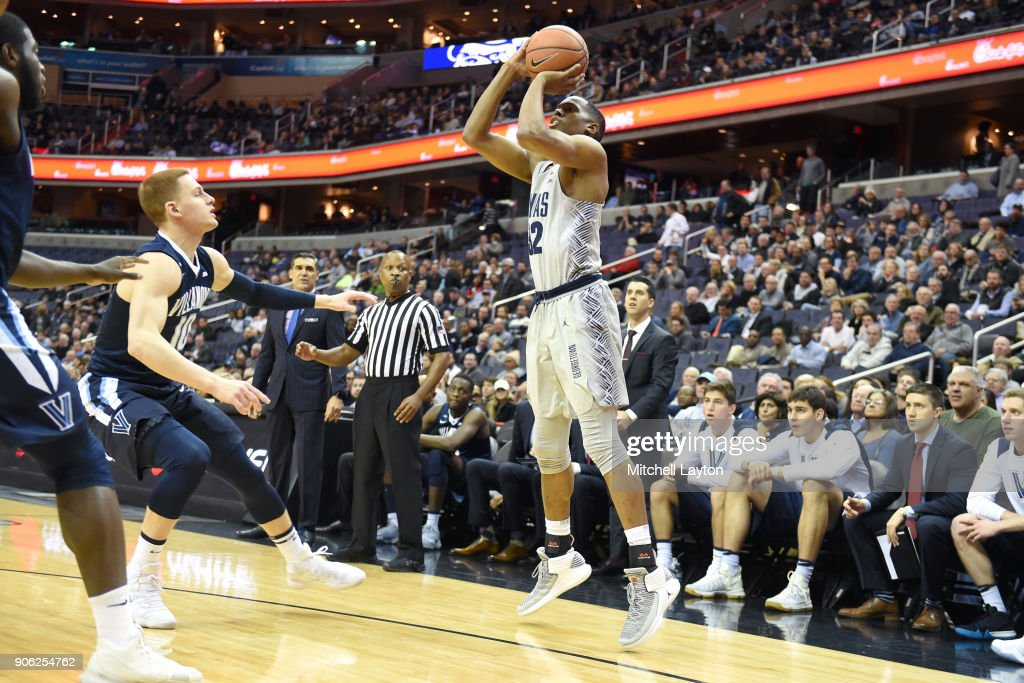 Kaleb Johnson #32 of the Georgetown Hoyas takes a jump shot during a college basketball game against the Georgetown Hoyas at the Capital One Arena on January 17, 2018 in Washington, DC.