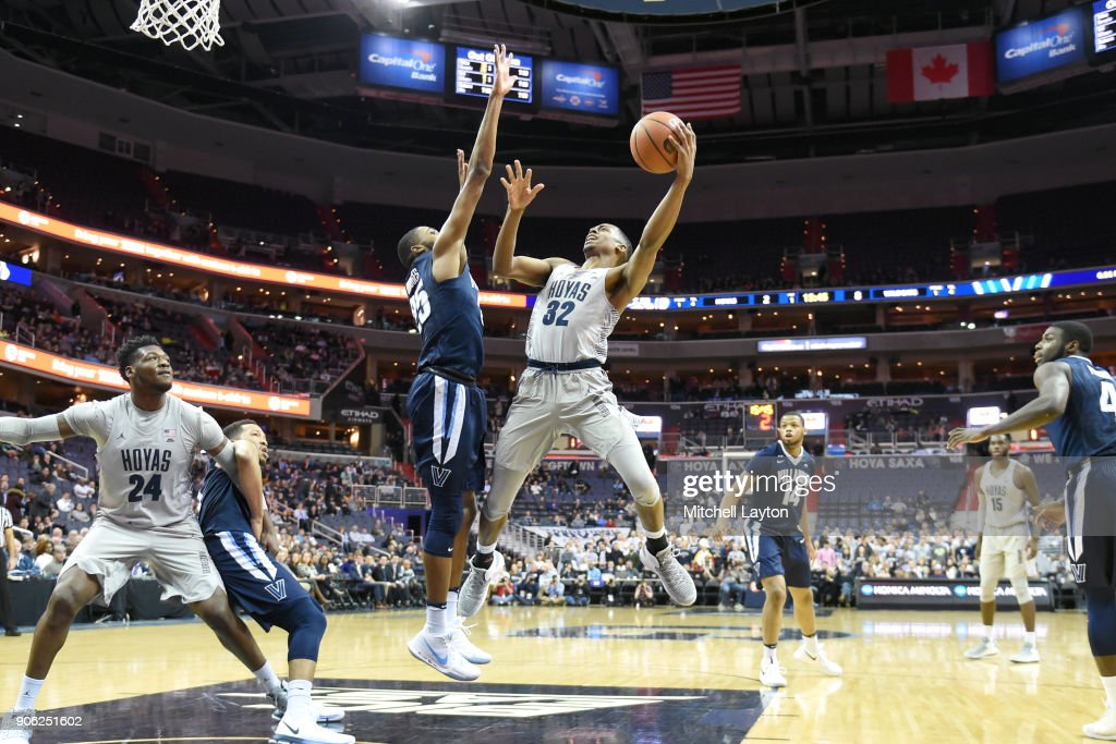 Kaleb Johnson #32 of the Georgetown Hoyas takes a shot over Mikal Bridges #25 of the Villanova Wildcats during a college basketball game at the Capitol One Arena on January 17, 2018 in Washington, DC.