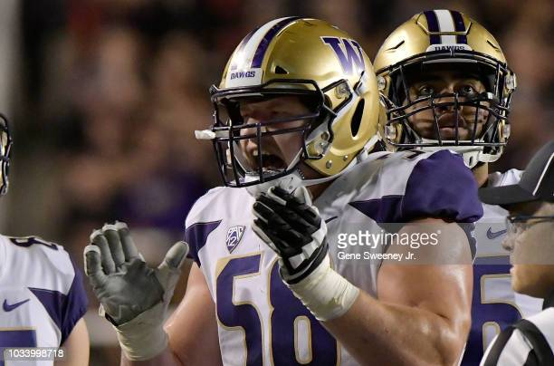 Kaleb McGary of the Washington Huskies celebrates a touchdown awarded after a review in the second half of a game against the Utah Utes at RiceEccles...