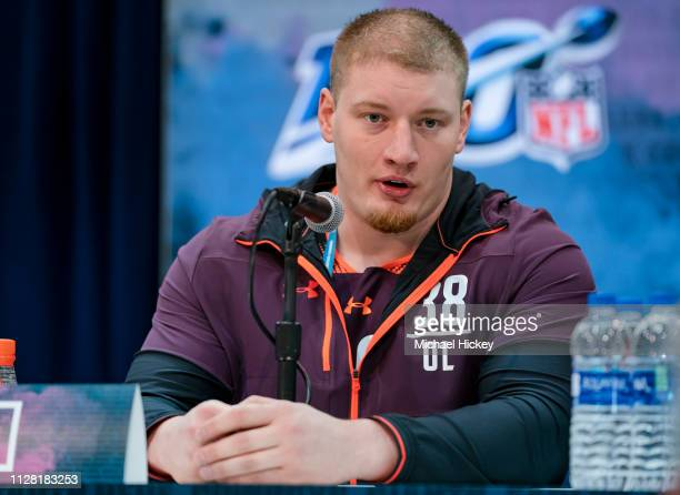 Kaleb McGary #OL38 of the Washington Huskies is seen at the 2019 NFL Combine at Lucas Oil Stadium on February 28 2019 in Indianapolis Indiana