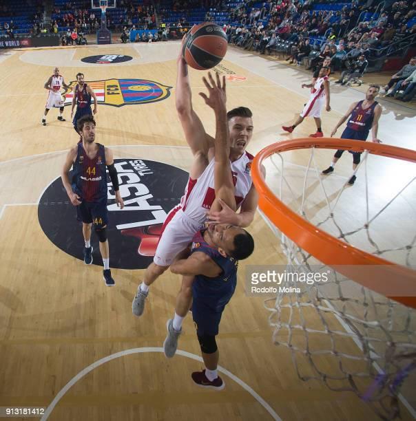 Kaleb Tarczewski #15 of AX Armani Exchange Olimpia Milan in action during the 2017/2018 Turkish Airlines EuroLeague Regular Season Round 21 game...