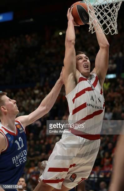 Kaleb Tarczewski of AX Armani Exchange Olimpia Milan shoots against Brock Motum of Anadolu Efes Istanbul during the Turkish Airlines EuroLeague...
