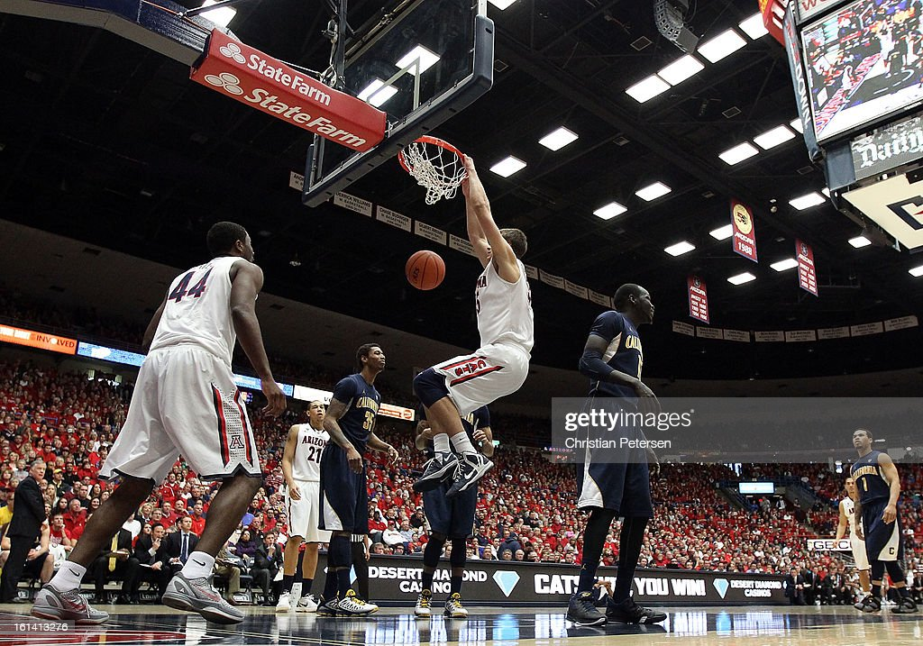 Kaleb Tarczewski #35 of the Arizona Wildcats slam dunks the ball against the California Golden Bears during the college basketball game at McKale Center on February 10, 2013 in Tucson, Arizona. The Golden Bears defeated the Wildcats 77-69.