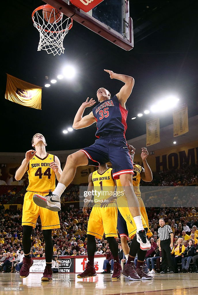 Kaleb Tarczewski #35 of the Arizona Wildcats watches his shot fall during the first half of the college basketball game at Wells Fargo Arena on January 3, 2016 in Tempe, Arizona. The Arizona Wildcats beat the Arizona State Sun Devils 94-82.