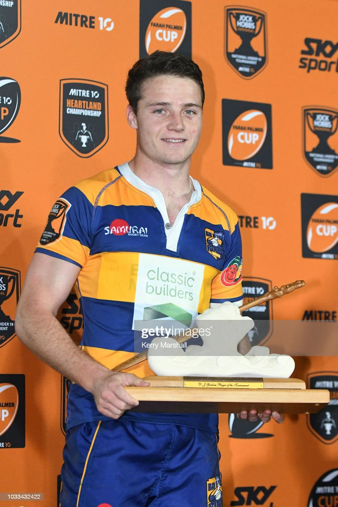 Kaleb Trask of the Bay of Plenty wins the DJ Graham player of the tournament award at the Jock Hobbs U19 Rugby Tournament on September 15, 2018 in Taupo, New Zealand.