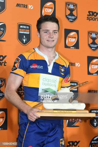 Kaleb Trask of the Bay of Plenty wins the DJ Graham player of the tournament award at the Jock Hobbs U19 Rugby Tournament on September 15 2018 in...