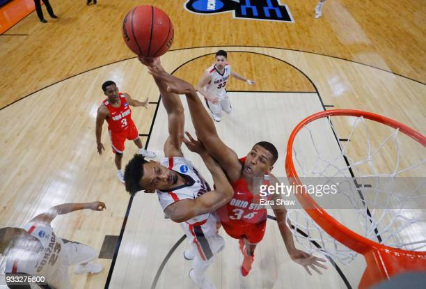 Kaleb Wesson of the Ohio State Buckeyes blocks a shot by Johnathan Williams of the Gonzaga Bulldogs in the second round of the 2018 NCAA Men's...