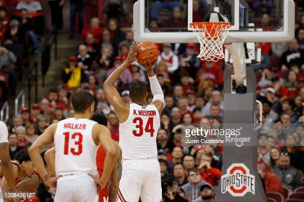 Kaleb Wesson of the Ohio State Buckeyes shoots a free throw in the game against the Maryland Terrapins at Value City Arena on February 23 2020 in...