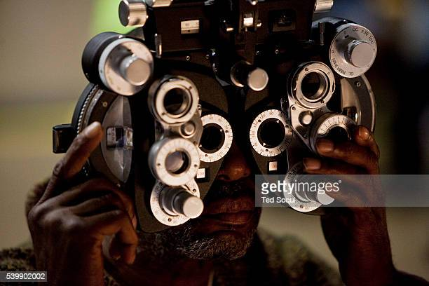 Kaleem Faquir receives eyecare during the RAM event in Inglewood The Remote Area Medical Volunteer Corp is a nonprofit organization that provides...