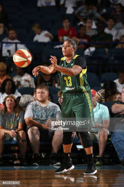 Kaleena MosquedaLewis of the Seattle Storm passes the ball against the Chicago Sky on September 3 2017 at Allstate Arena in Rosemont IL NOTE TO USER...