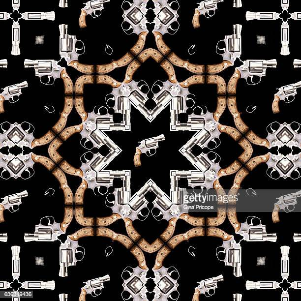 kaleidoscope effect of a gun with wooden handle. - gun barrel stock pictures, royalty-free photos & images