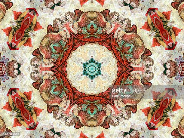Kaleidoscope effect of a painting religious subjects.