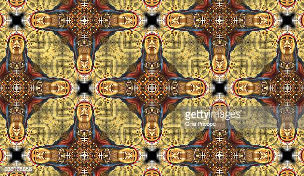 kaleidoscope effect of an american indian mask. - wood effect stock photos and pictures
