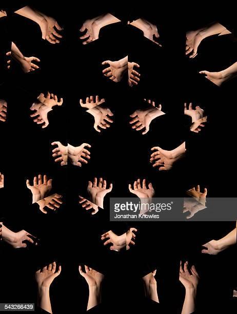 Kaleidoscope images of hands