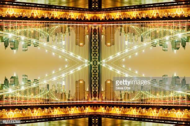 kaleidoscope Manhattan Bridge at night