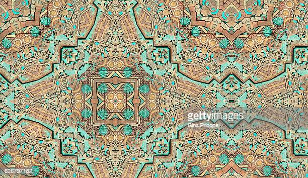kaleidoscope of an aztec painting wall. - aztec civilization stock photos and pictures