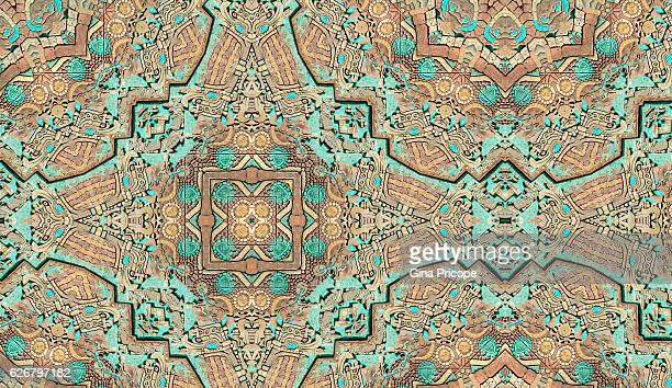 Kaleidoscope of an aztec painting wall.