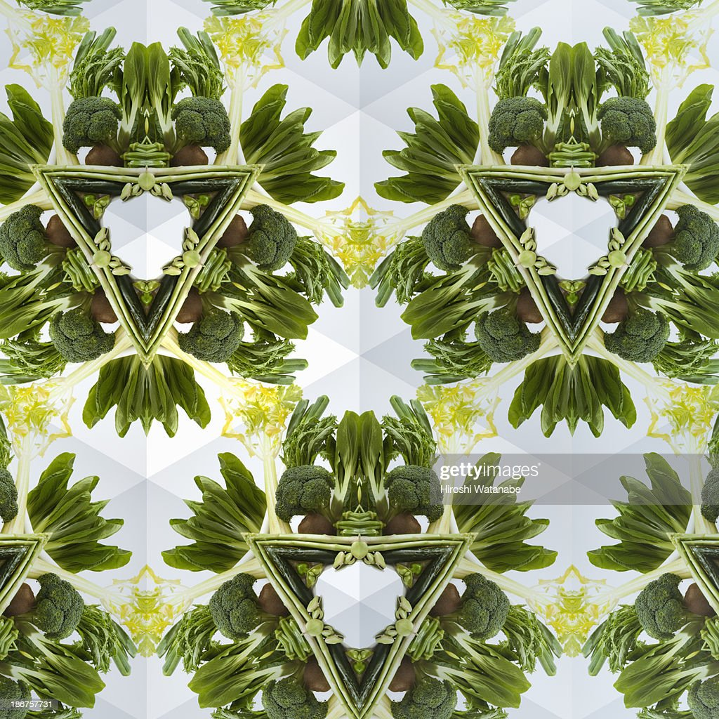 Kaleidoscope of green vegetables and fruits : Stock Photo
